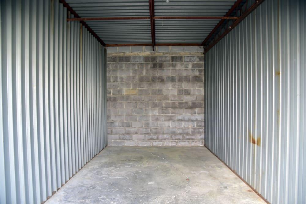 Open storage unit interior at StayLock Storage in Warner Robins,GA