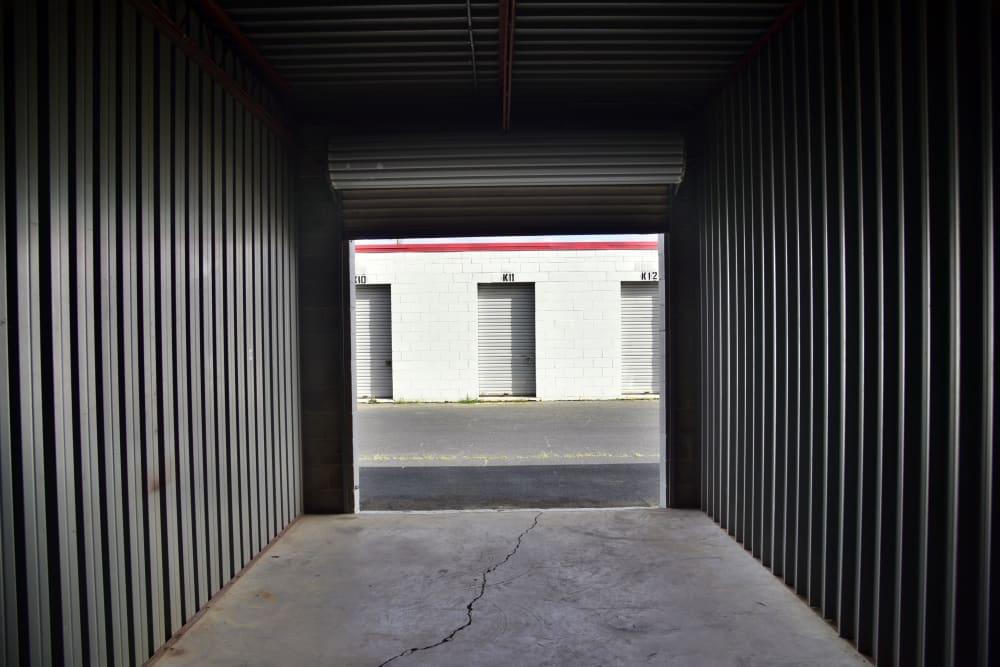 Inside an open storage unit at StayLock Storage in Warner Robins,GA