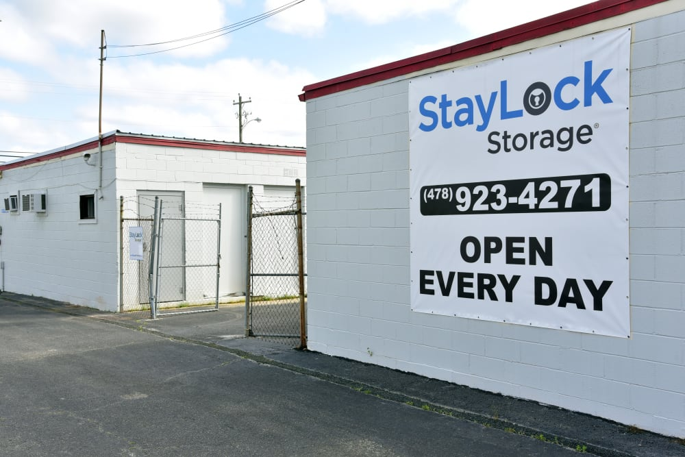Gate access and sign at StayLock Storage in Warner Robins,GA
