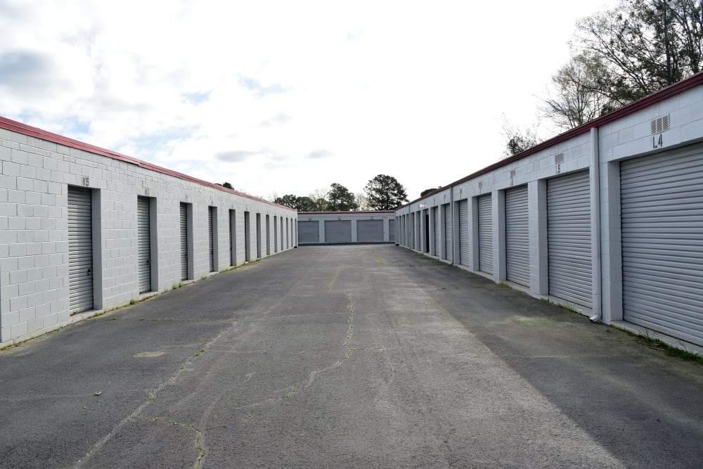 Wide driveway storage units at StayLock Storage in Warner Robins,GA