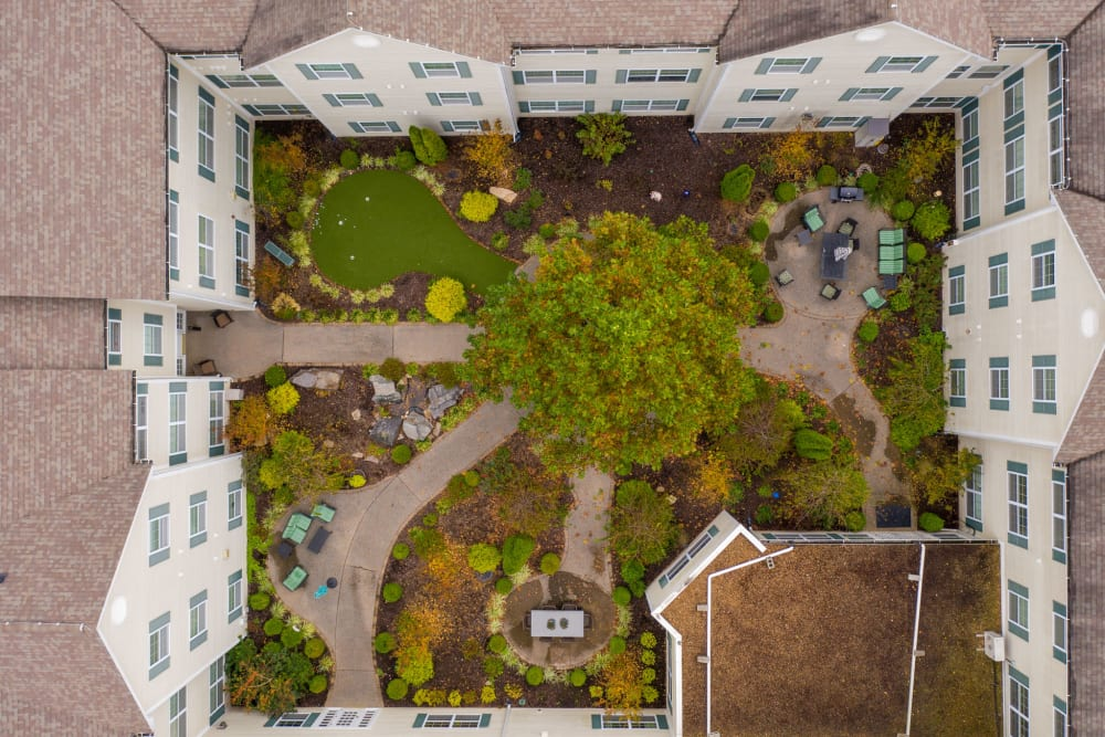 Aerial view of a unique community managed by Hearth Management