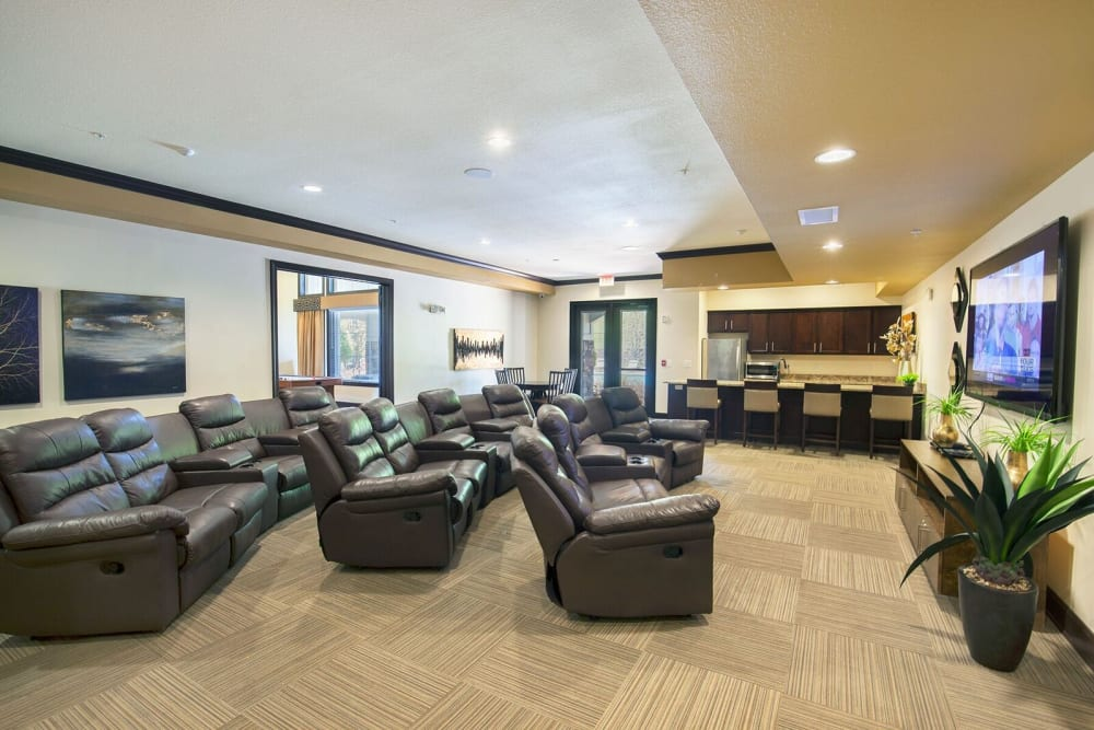 Cinema and movie room at Integra Hills Preserve Apartments in Ooltewah, Tennessee