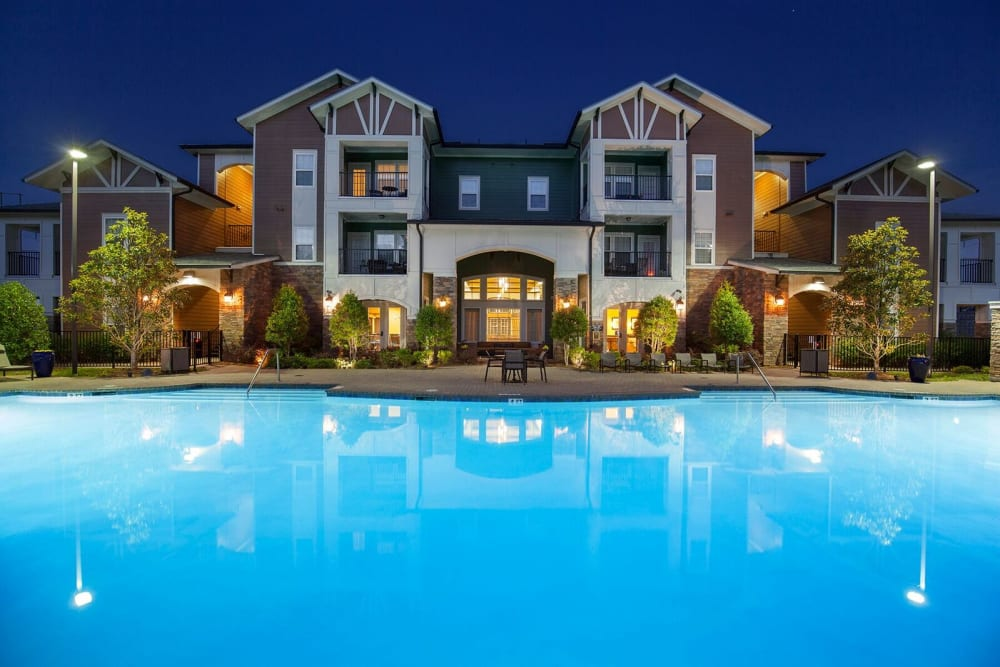 Outdoor swimming pool at Integra Hills Preserve Apartments in Ooltewah, Tennessee