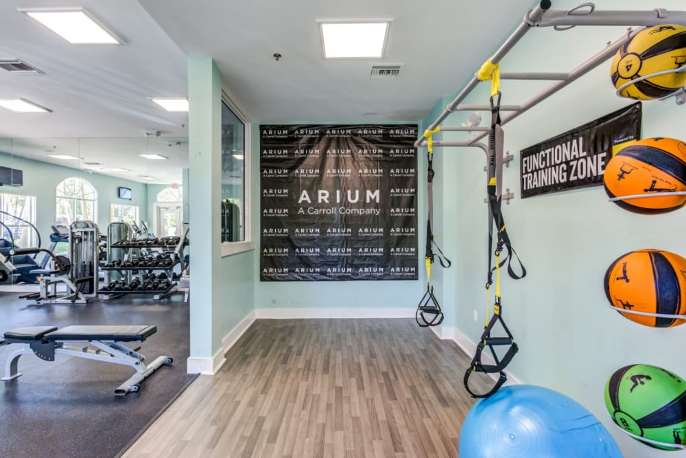 Full state of the art fitness center at The Pearl in Ft Lauderdale, Florida