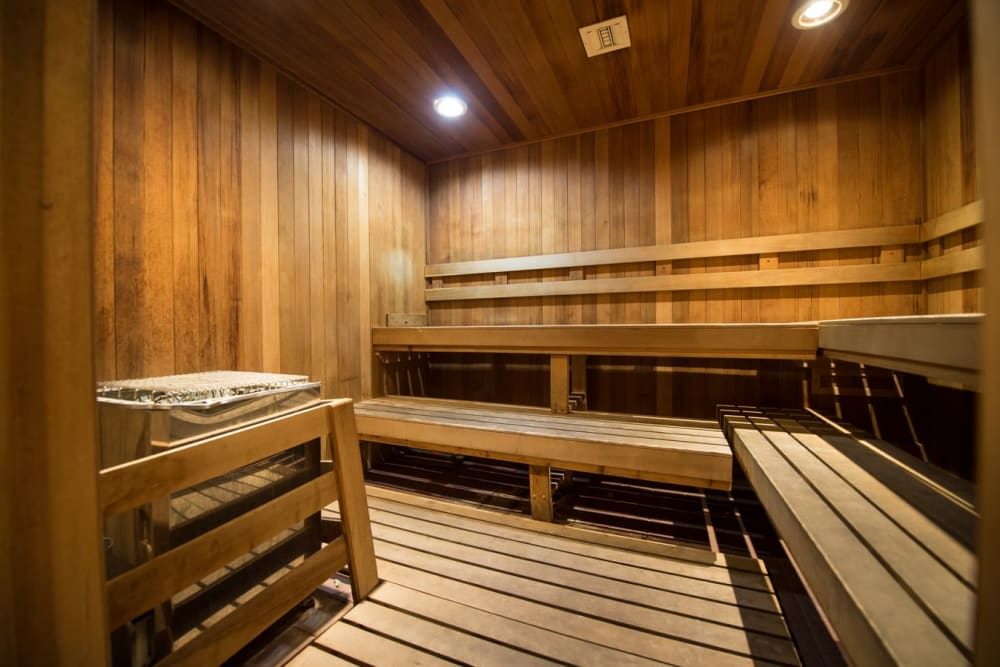 Onsite sauna near the resort style swimming pool at The Pearl in Ft Lauderdale, Florida