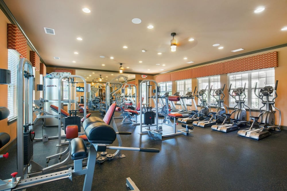 State-of-the-art fitness center at Integra Hills Preserve Apartments in Ooltewah, Tennessee