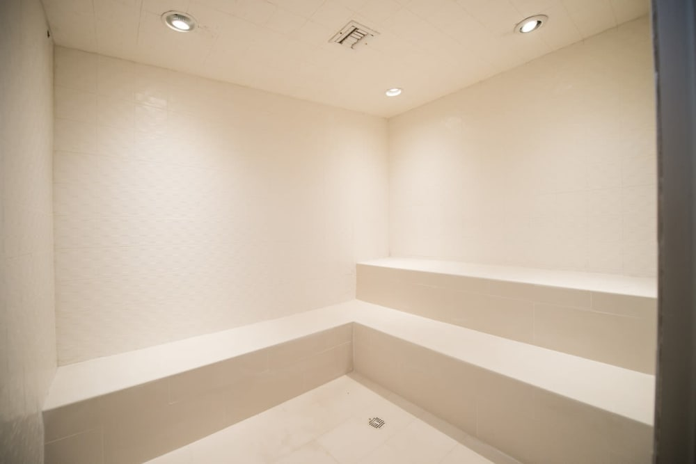Steam room for residents to use after a long day at The Pearl in Ft Lauderdale, Florida