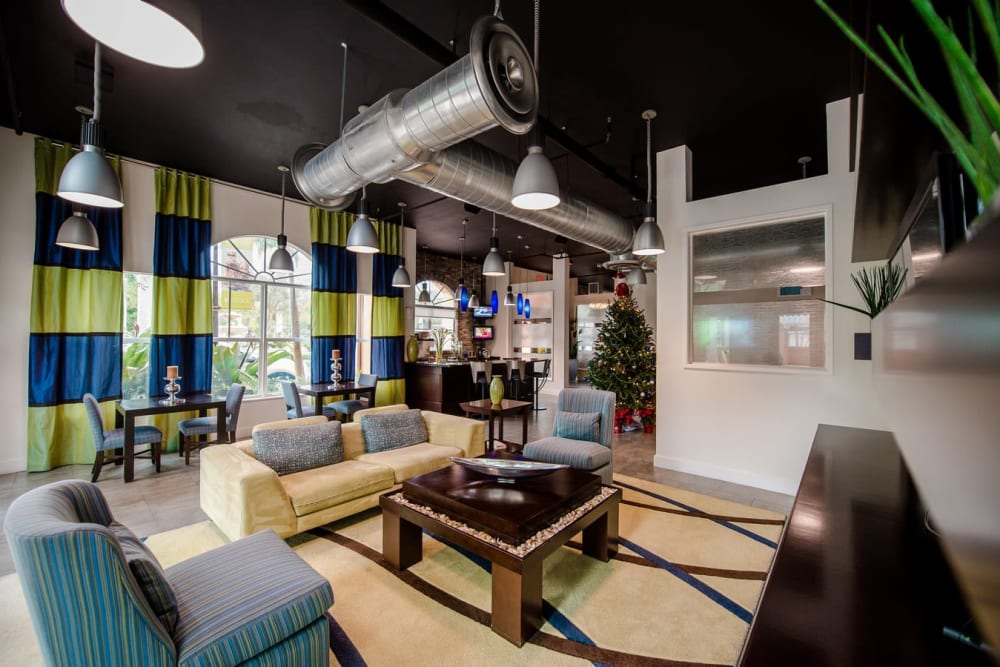 Clubhouse area for residents to hangout and play games with their friends at The Pearl in Ft Lauderdale, Florida