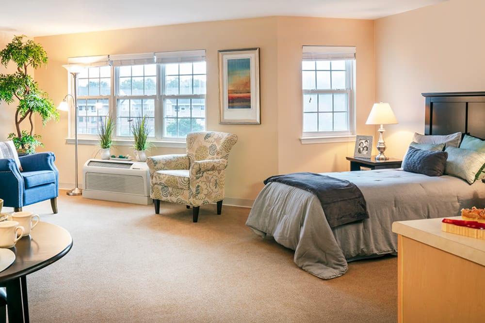 Resident bedroom at Pacifica Senior Living Sterling in Sterling, Virginia