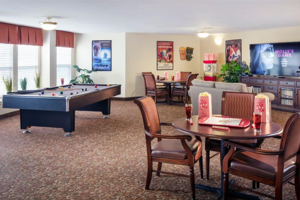 A game room at Pacifica Senior Living Sterling in Sterling, Virginia