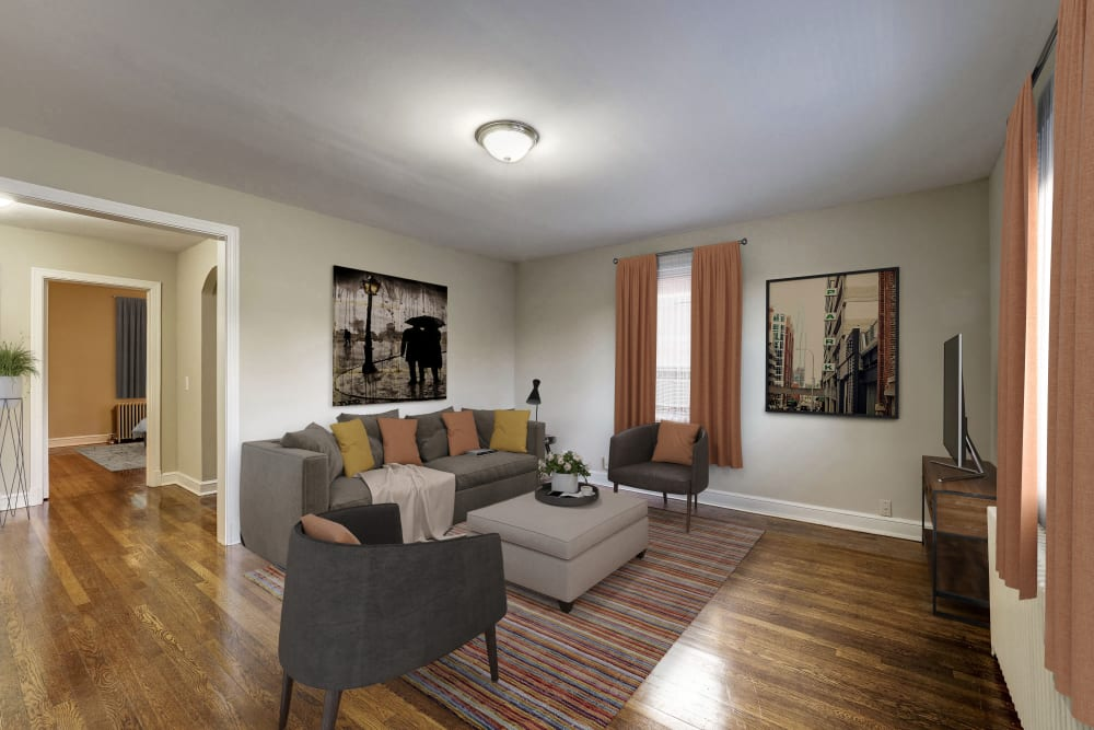 Living rom at Avondale Apartments in Bethesda, Maryland