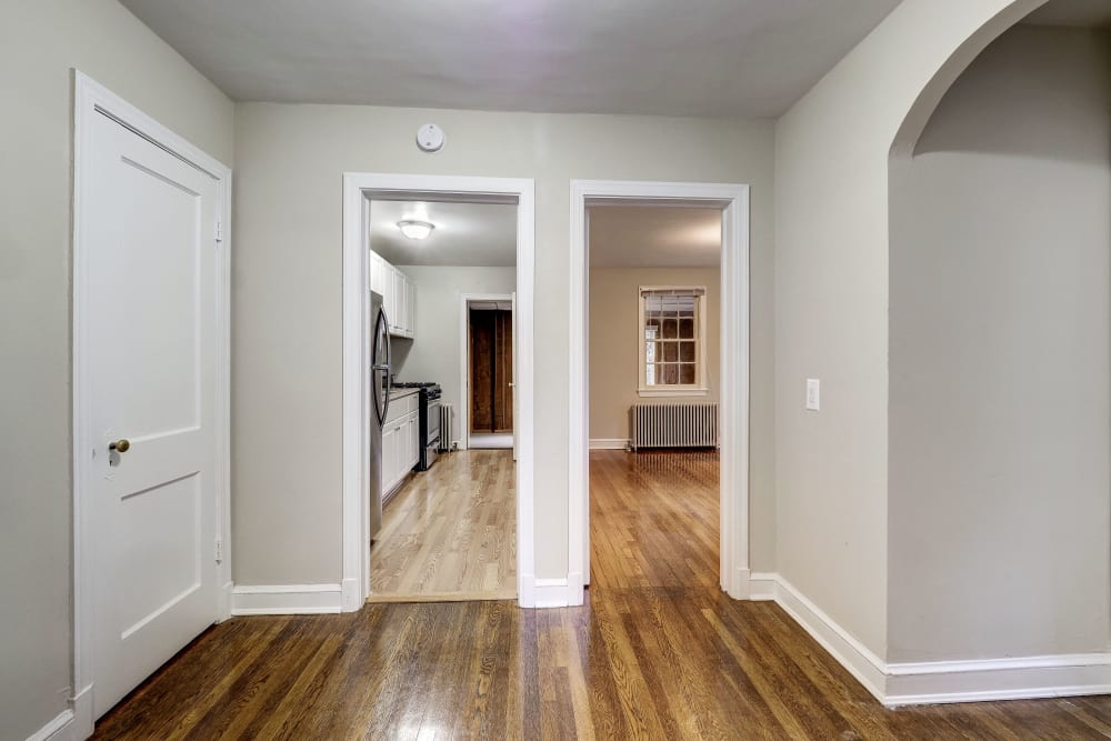Spacious hallway at Avondale Apartments in Bethesda, Maryland