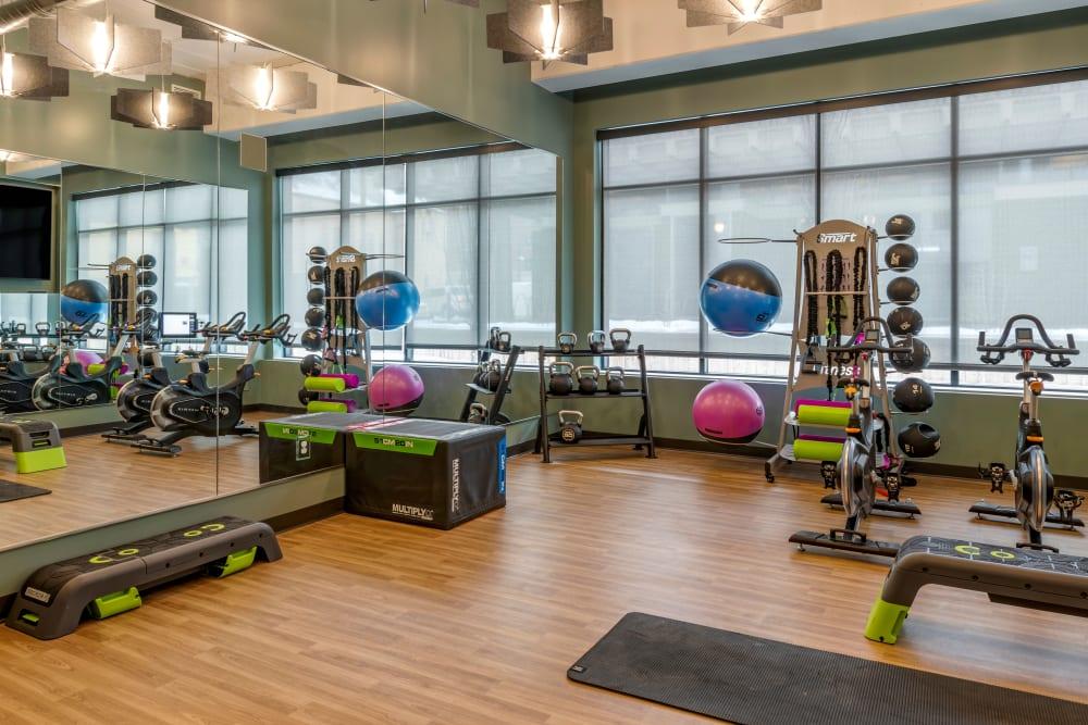 Fitness center with treadmills at UNCOMMON Dinkytown in Minneapolis, Minnesota