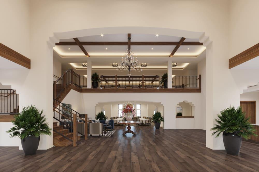 Entry foyer and reception area at Ativo Senior Living of Sundance in Buckeye, Arizona