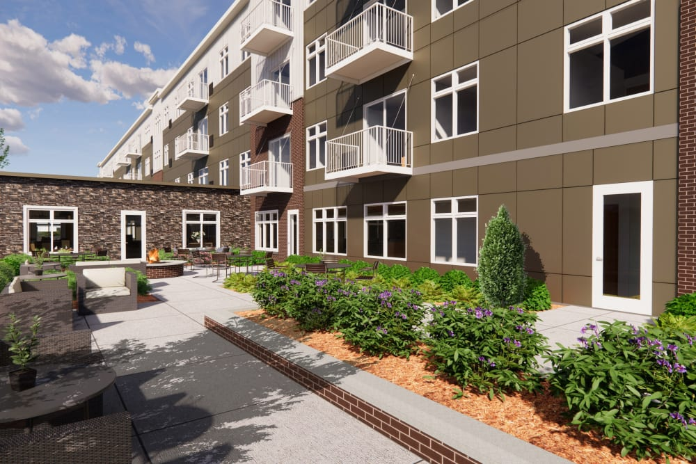 Exterior rendering of apartment building at Broadwell Senior Living in Kearney, Nebraska