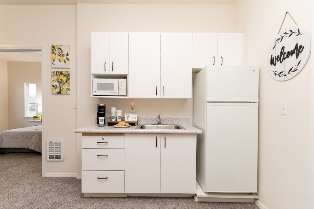 Kitchenette at King's Manor Senior Living Community