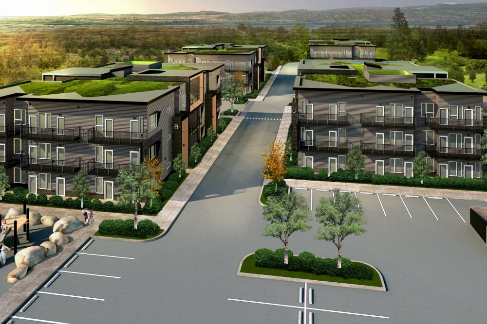 Aerial view of the apartment complex at Brookside Apartments in Gresham, Oregon
