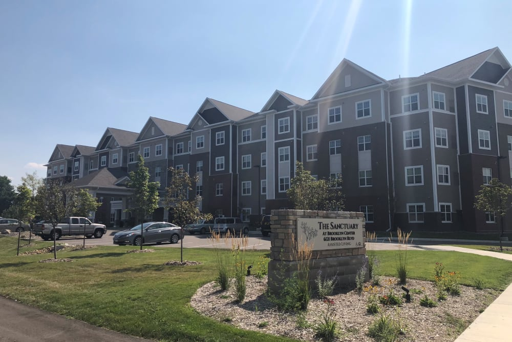 Front entrance at The Sanctuary at Brooklyn Center location, a Ebenezer Senior Living property