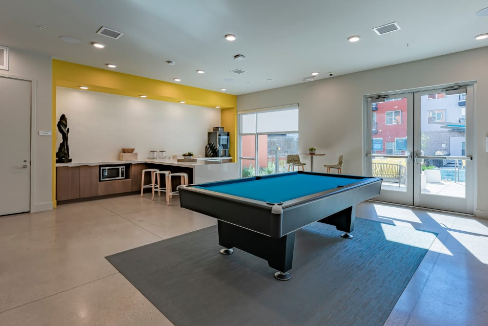 Game room with a pool table at Encore Tessera in Phoenix, Arizona