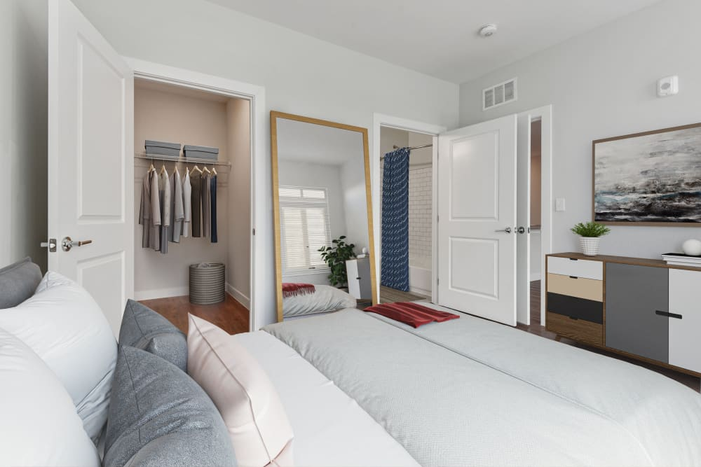 Bedroom with Bathroom and Large Closet at Lineage at North Patrick Street