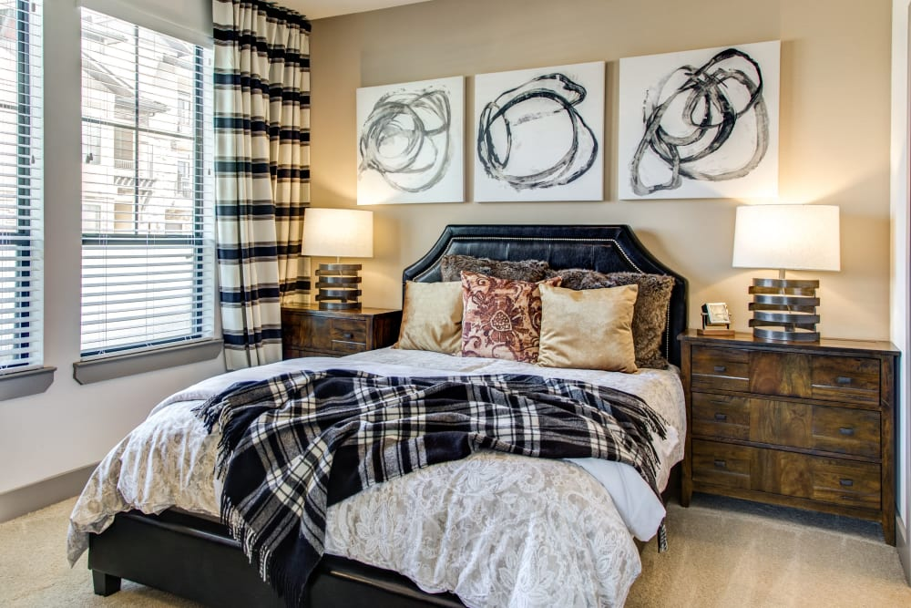 Well-lit bedroom at Waterford Trails in Spring, Texas
