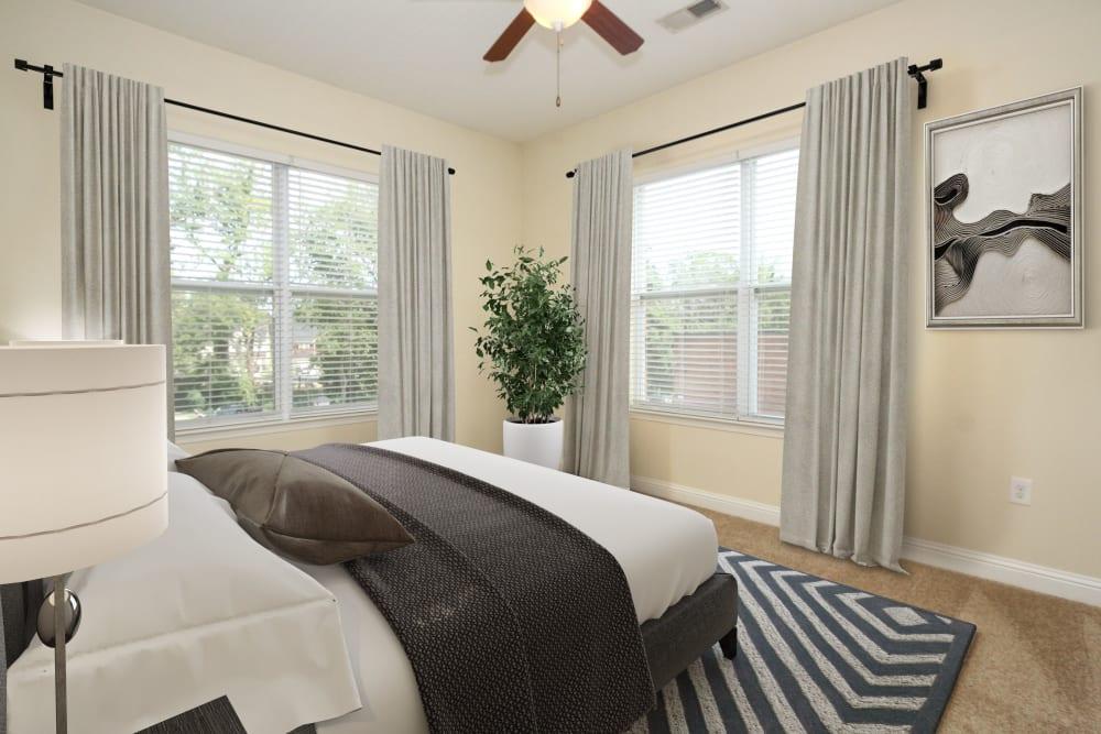 Model bedroom at Morehead West in Charlotte, North Carolina