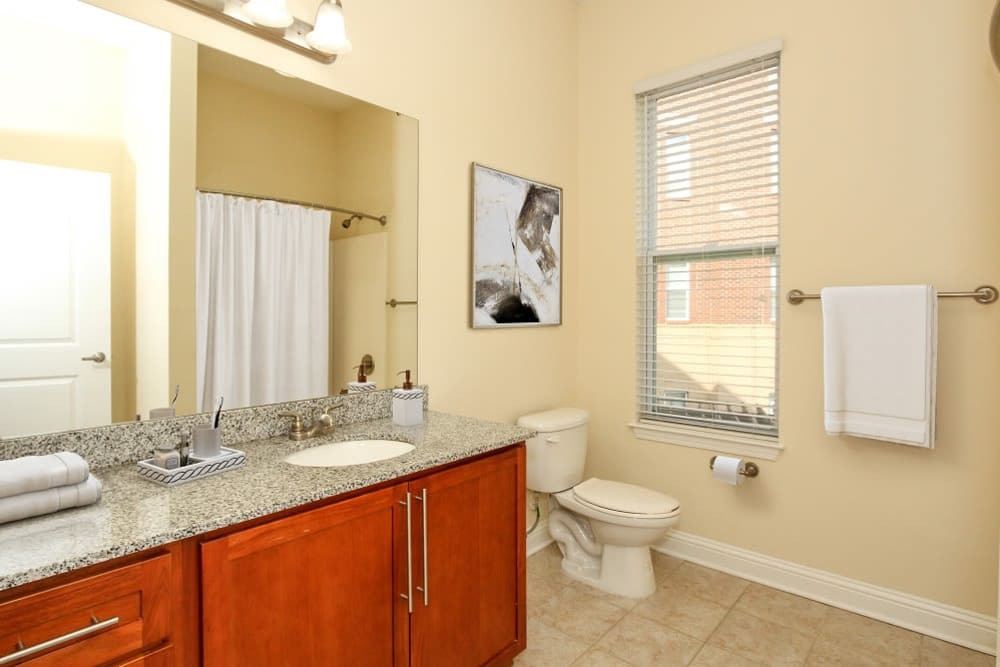Model bathroom at Morehead West in Charlotte, North Carolina