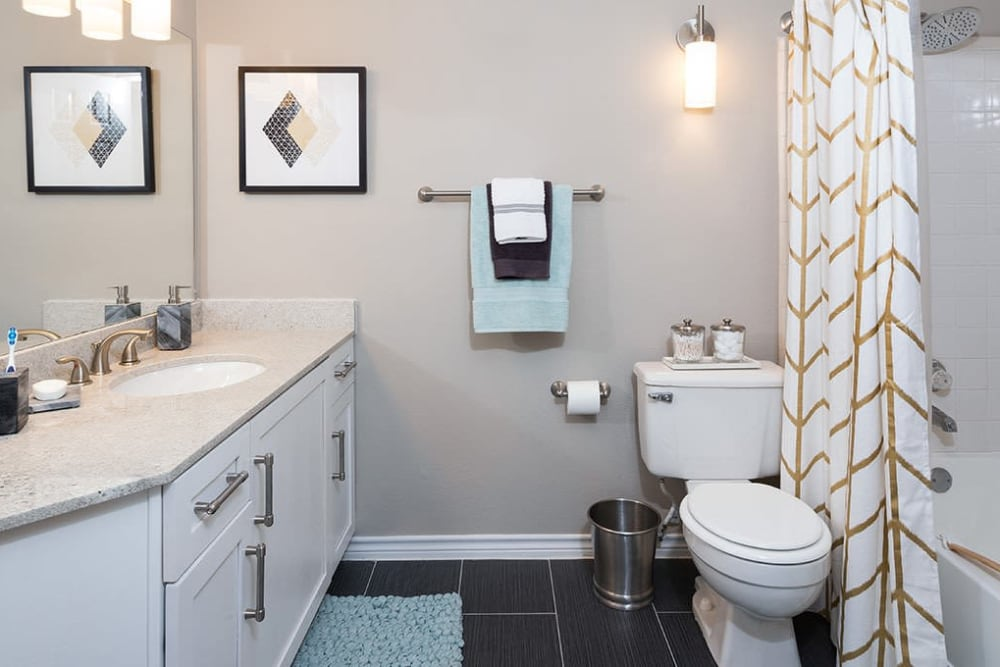 Spacious bathroom at Alesio Urban Center in Irving, Texas