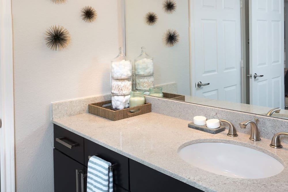 Model bathroom at Alesio Urban Center in Irving, Texas