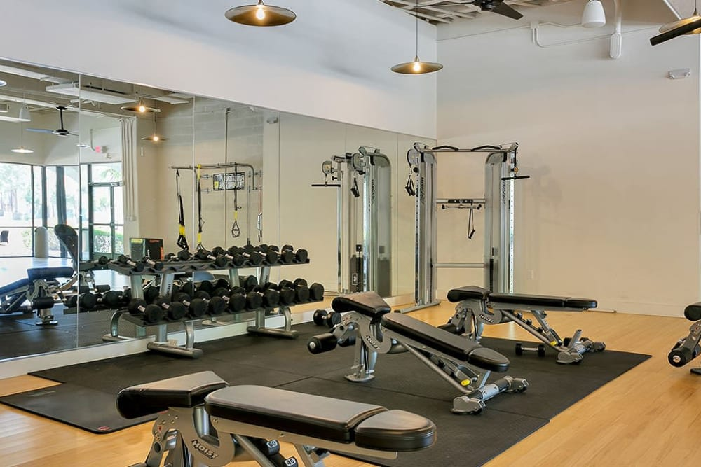 Fitness center at Alesio Urban Center in Irving, Texas