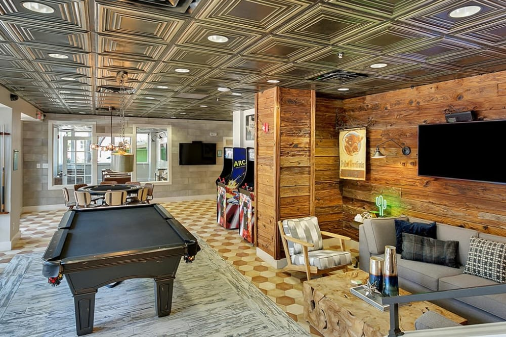 Game and lounge room at Alesio Urban Center in Irving, Texas