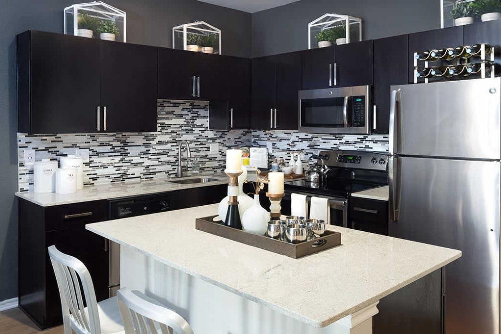 Model kitchen at Alesio Urban Center in Irving, Texas