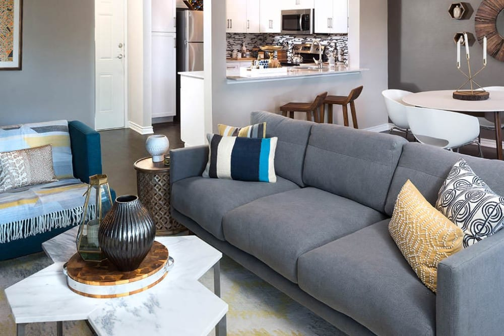 Living room at Alesio Urban Center in Irving, Texas