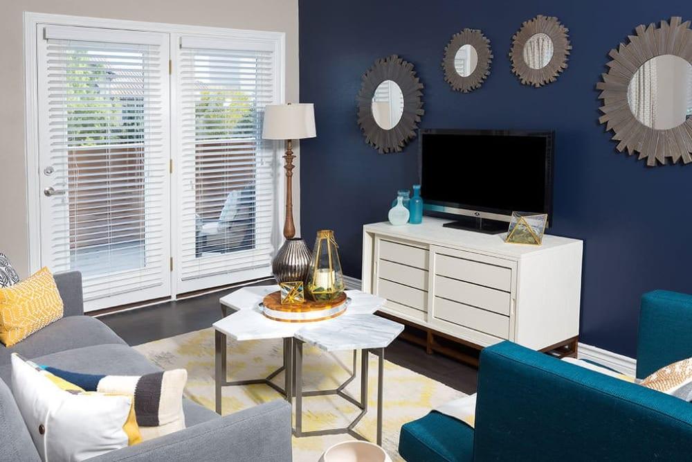 Unique living room at Alesio Urban Center in Irving, Texas