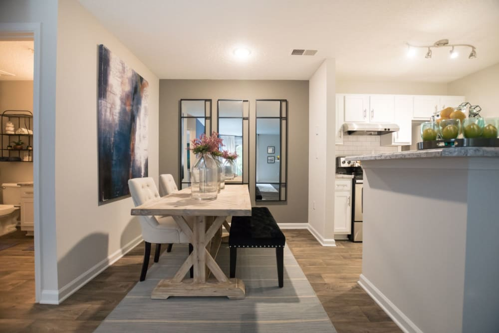 Model dining area at Palmetto Place in Fort Mill, South Carolina