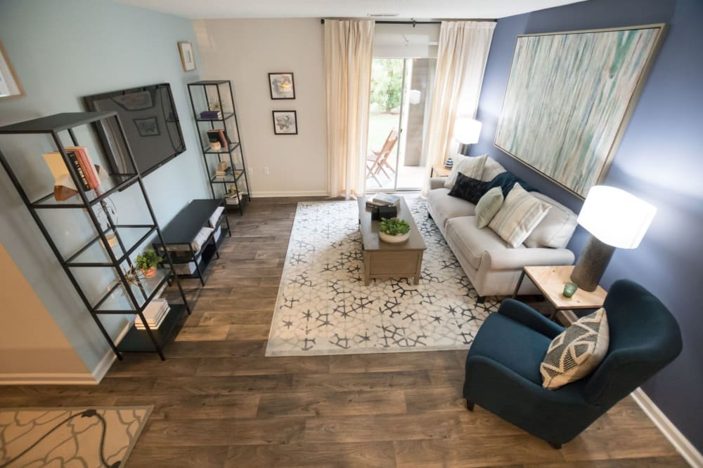 Model living room at Palmetto Place in Fort Mill, South Carolina