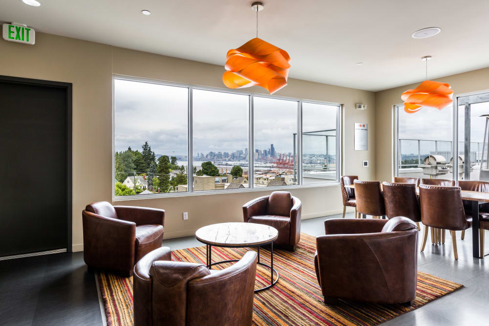 Clubhouse interior at Marq West Seattle in Seattle, Washington