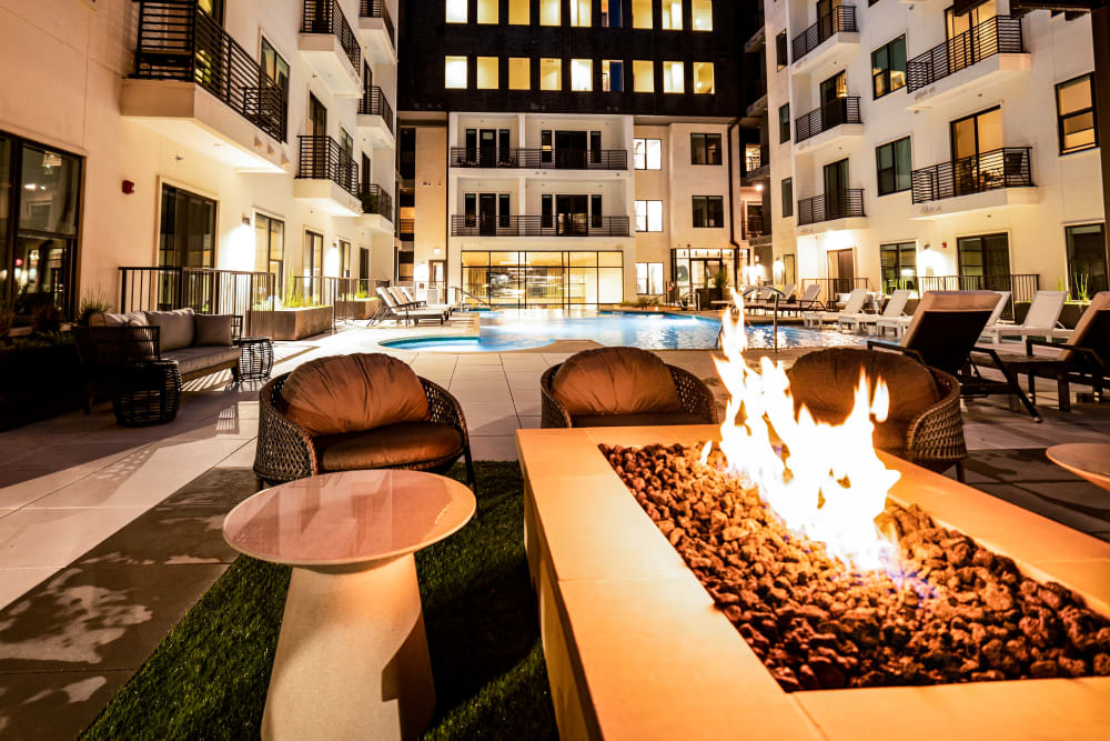 Outdoor firepit with seating at The Clark in Austin, Texas
