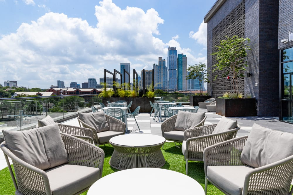Outdoor lounge for residents at The Clark in Austin, Texas