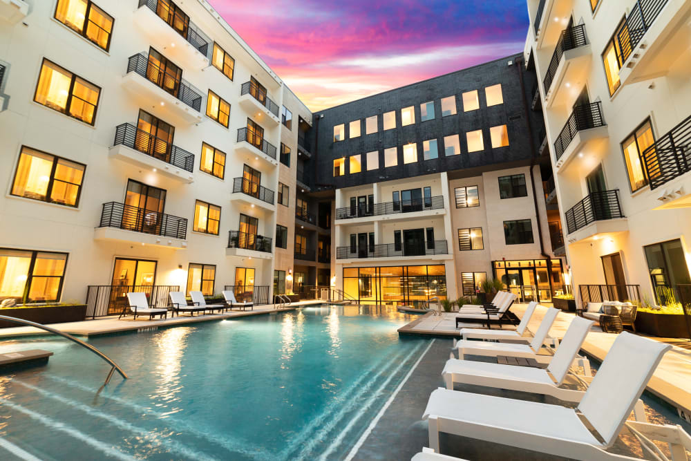 Resort-caliber swimming pool at The Clark in Austin, Texas