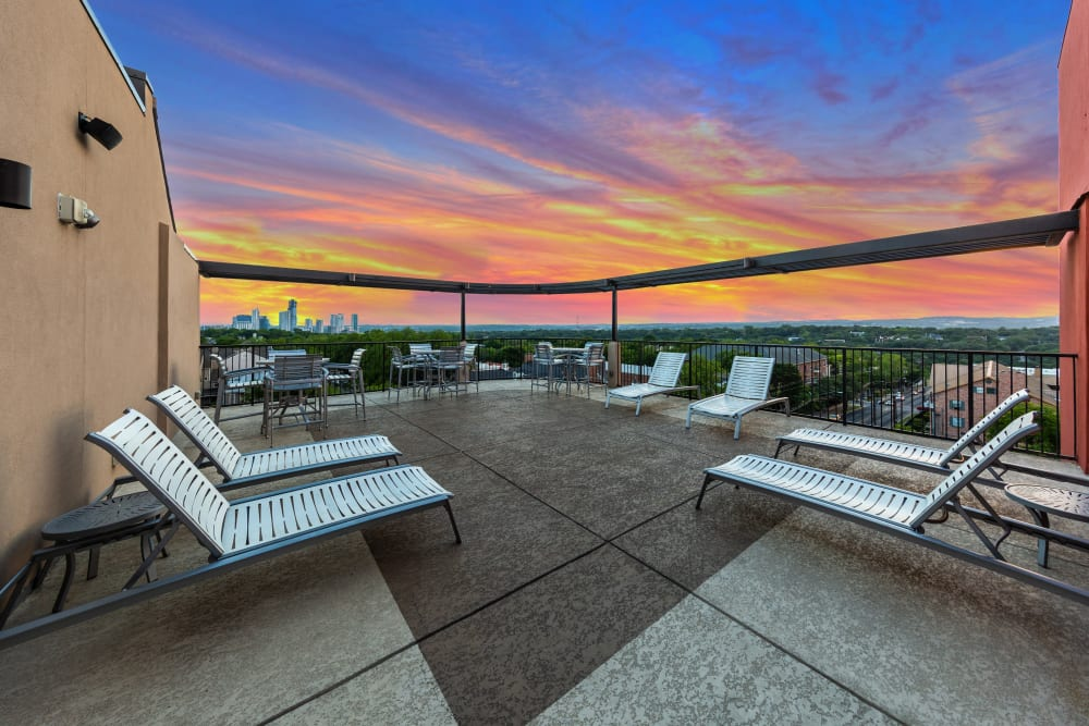 Rooftop lounge with a view at Regents West at 24th in Austin, Texas