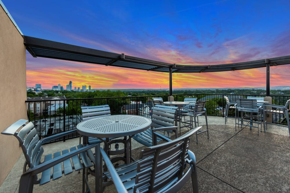 Rooftop lounge at Regents West at 24th in Austin, Texas