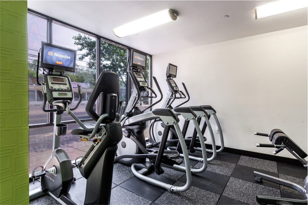 Fully equipped fitness center at Regents West at 24th in Austin, Texas