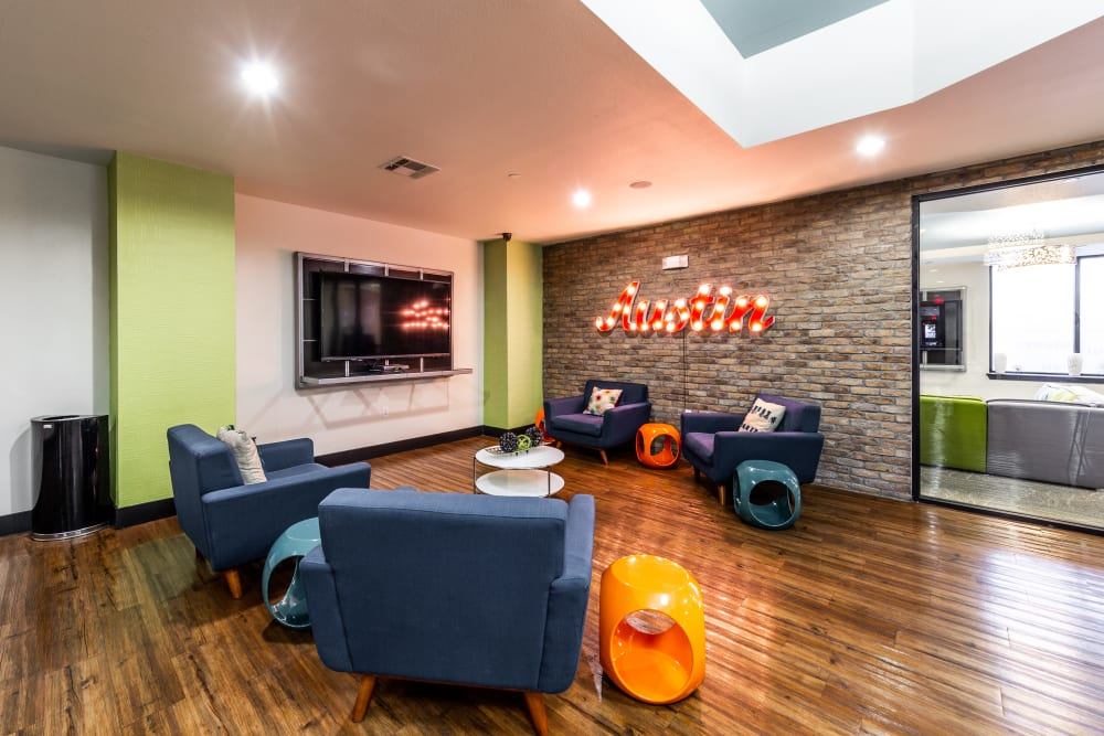 Indoor lounge at Regents West at 24th in Austin, Texas