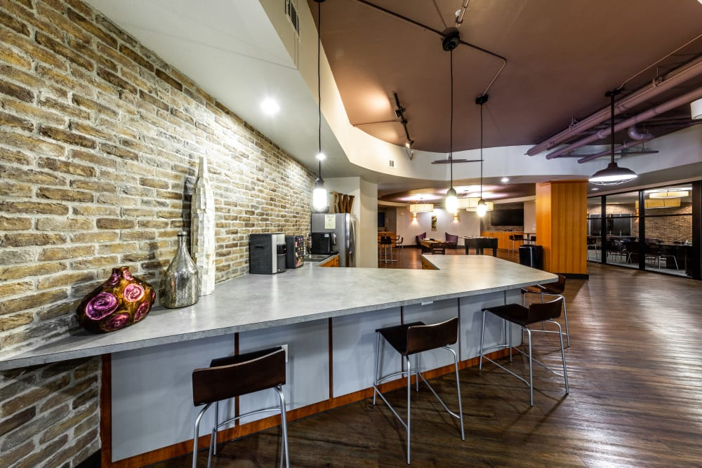 Community kitchen at Regents West at 24th in Austin, Texas