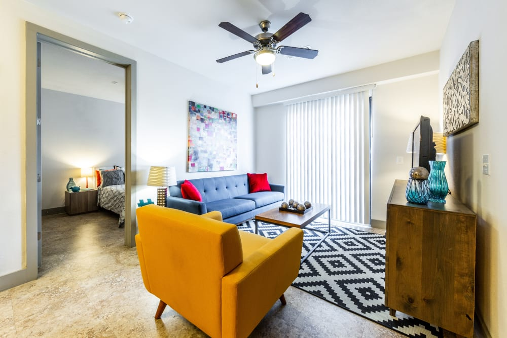 Well furnished living room at Regents West at 24th in Austin, Texas