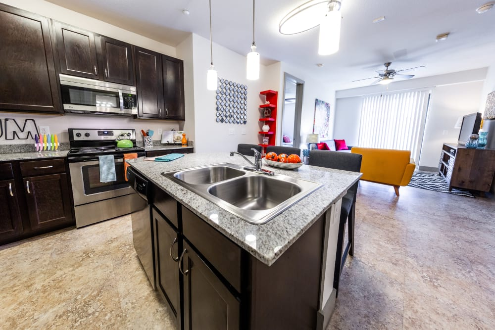 Kitchen with granite counters at Regents West at 24th in Austin, Texas