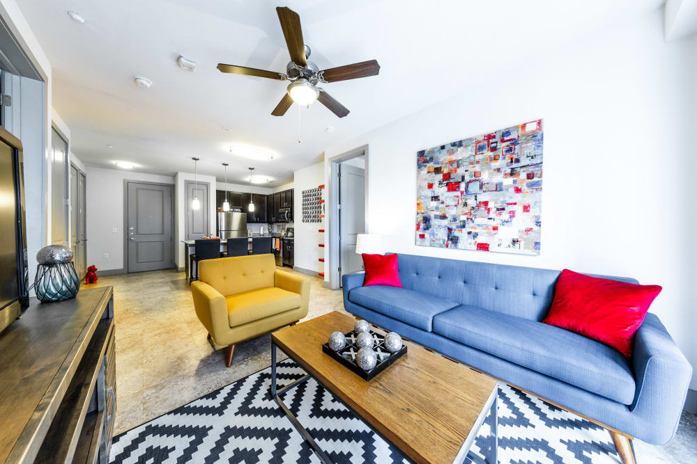 Bright living room at Regents West at 24th in Austin, Texas