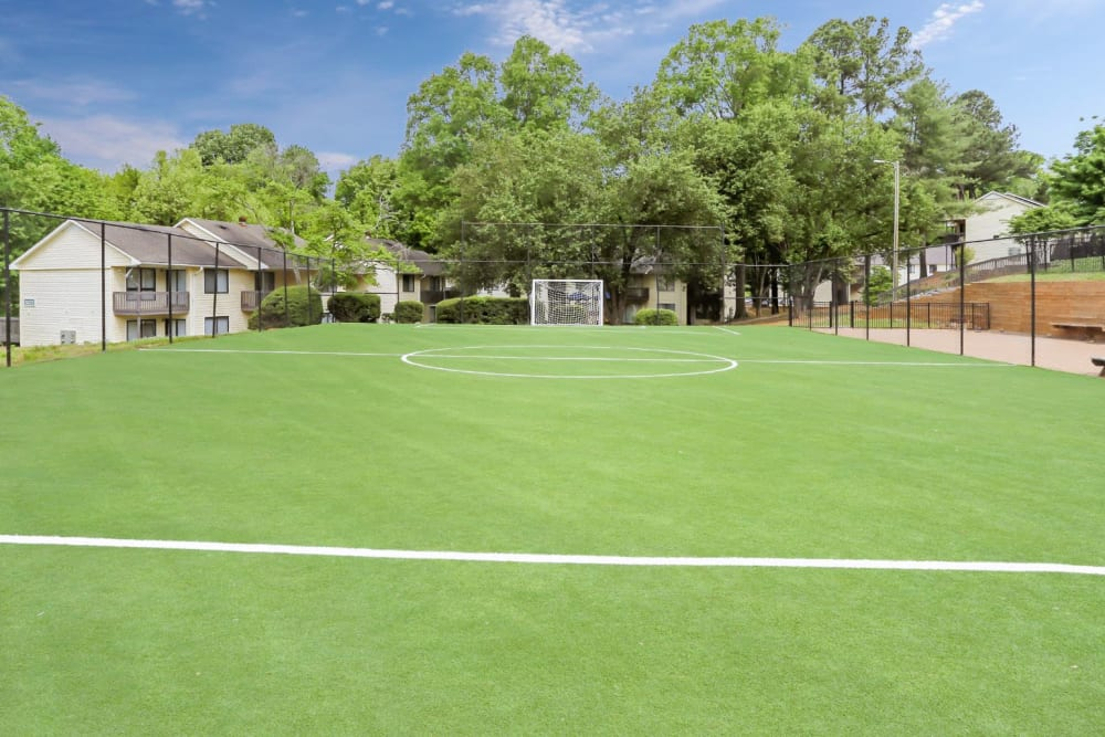 Huge full sized soccer field for residents to play on anytime at The Flats at Arrowood in Charlotte, North Carolina