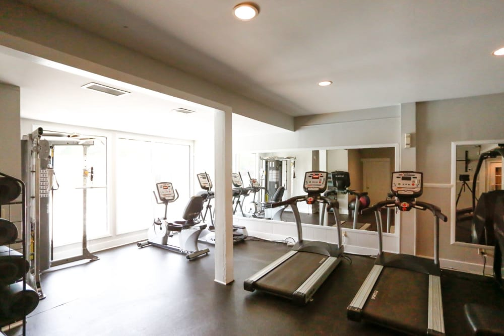 Full sized fitness center at The Flats at Arrowood in Charlotte, North Carolina